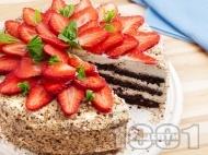 Домашна шоколадова торта с какаови блатове, бял крем от маскарпоне и кондензирано мляко и ягоди